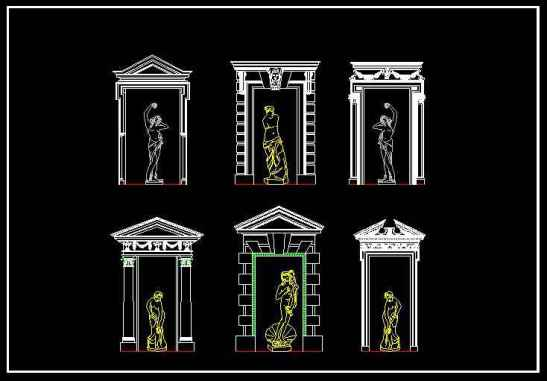 Decorative Elements,Carried of viceroys,Outdoor Decoration,Columns,CAD blocks for outdoor living design projects
