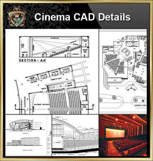 Cinema Design,Autocad Blocks,Cinema Details,Cinema Section,Cinema elevation design drawings
