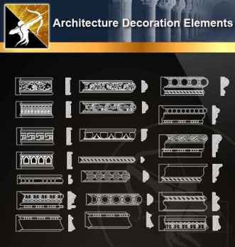 ★【 Free Architecture Decoration Elements V.8】@Autocad Decoration Blocks,Drawings,CAD Details,Elevation