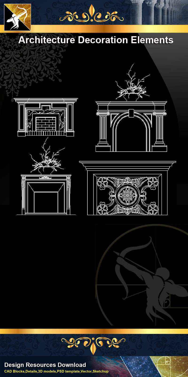 ★【 Free Architecture Decoration Elements V.10】@Autocad Decoration Blocks,Drawings,CAD Details,Elevation
