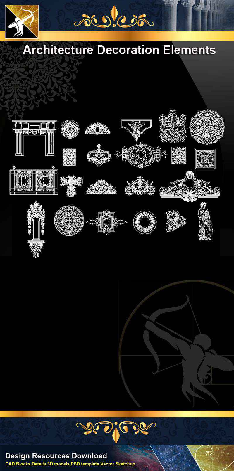 ★【 Free Architecture Decoration Elements V.11】@Autocad Decoration Blocks,Drawings,CAD Details,Elevation