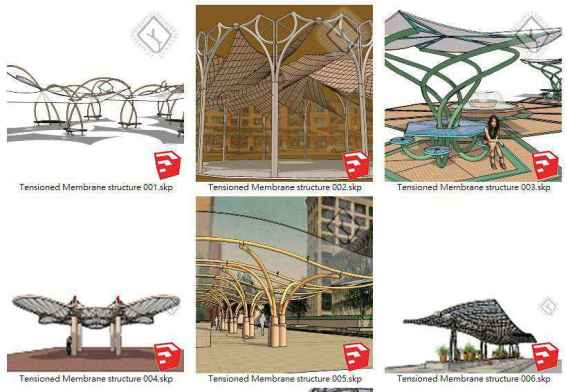 【Sketchup 3D Models】19 Types of Tensioned Membrane Structure Sketchup Models V.1