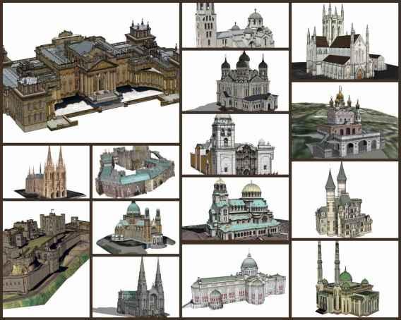 💎【Sketchup Architecture 3D Projects】15 Types of Castle Design Sketchup 3D Models V1